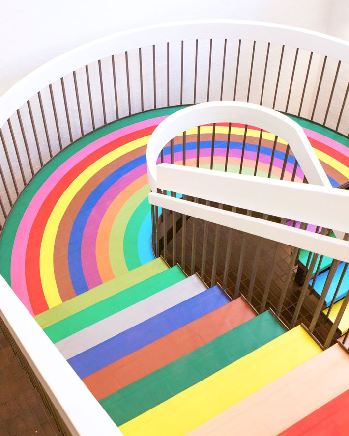 The rainbow-clad staircase that connected two floors.