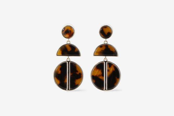 Ben Amun 24-Karat Gold-Plated Tortoiseshell Acrylic Earrings