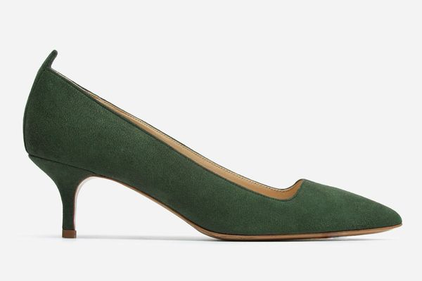 Everlane the Editor Heel in Dark Green Suede