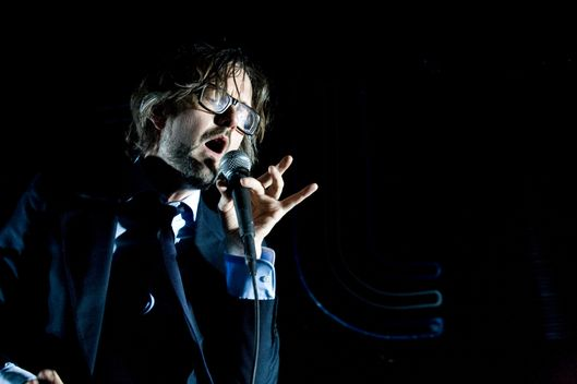 Jarvis Cocker of Pulp performs on stage at Radio City Music Hall
