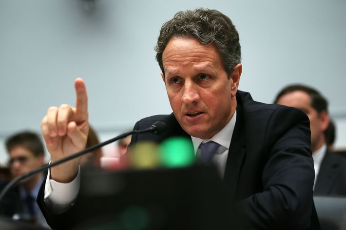 U.S. Secretary of the Treasury Timothy Geithner testifies during a hearing on ''The Annual Report of the Financial Stability Oversight Council'' before the House Financial Services Committee July 25, 2012 on Capitol Hill in Washington, DC. Geithner faced questions about his handling of the LIBOR issue as president of the New York Federal Reserve.