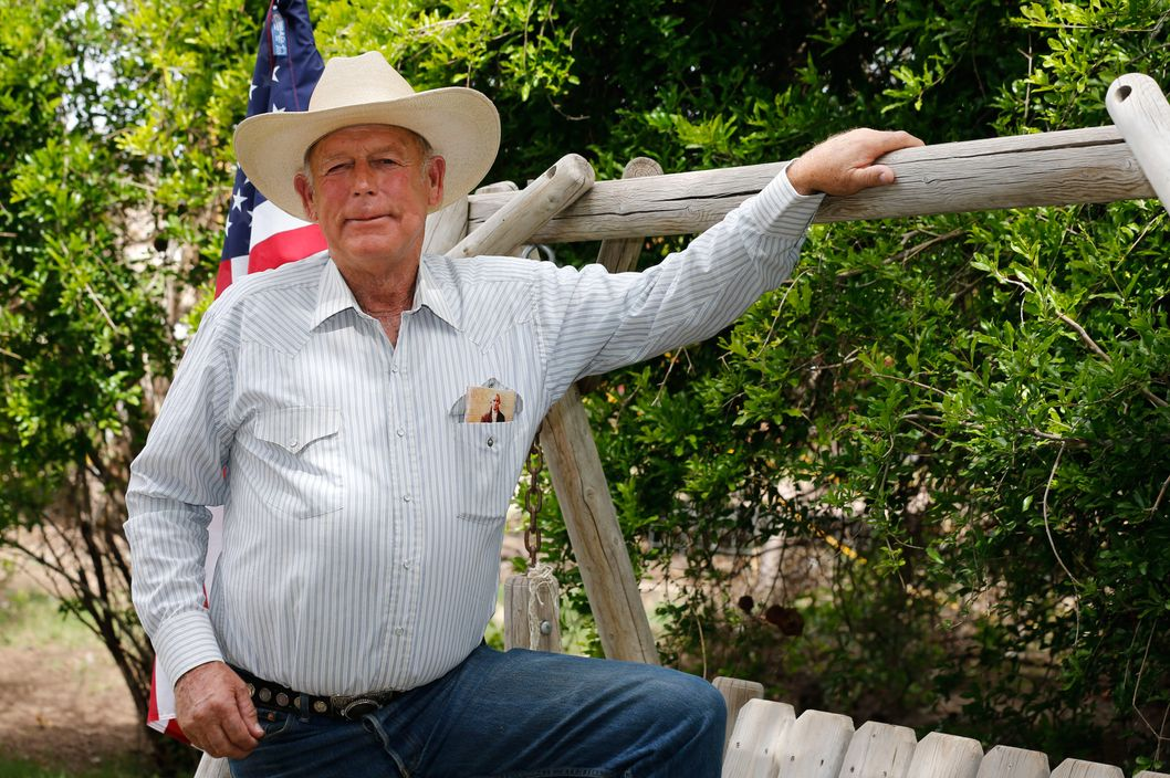 Rancher Cliven Bundy poses for a photo outside his ranch house on April 11, 2014 west of Mesquite, Nevada. Bureau of Land Management officials are rounding up Cliven Bundy's cattle, he has been locked in a dispute with the BLM for a couple of decades over grazing rights.
