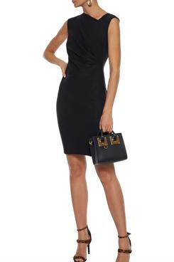 Halston Gathered Wool-Felt Mini Dress