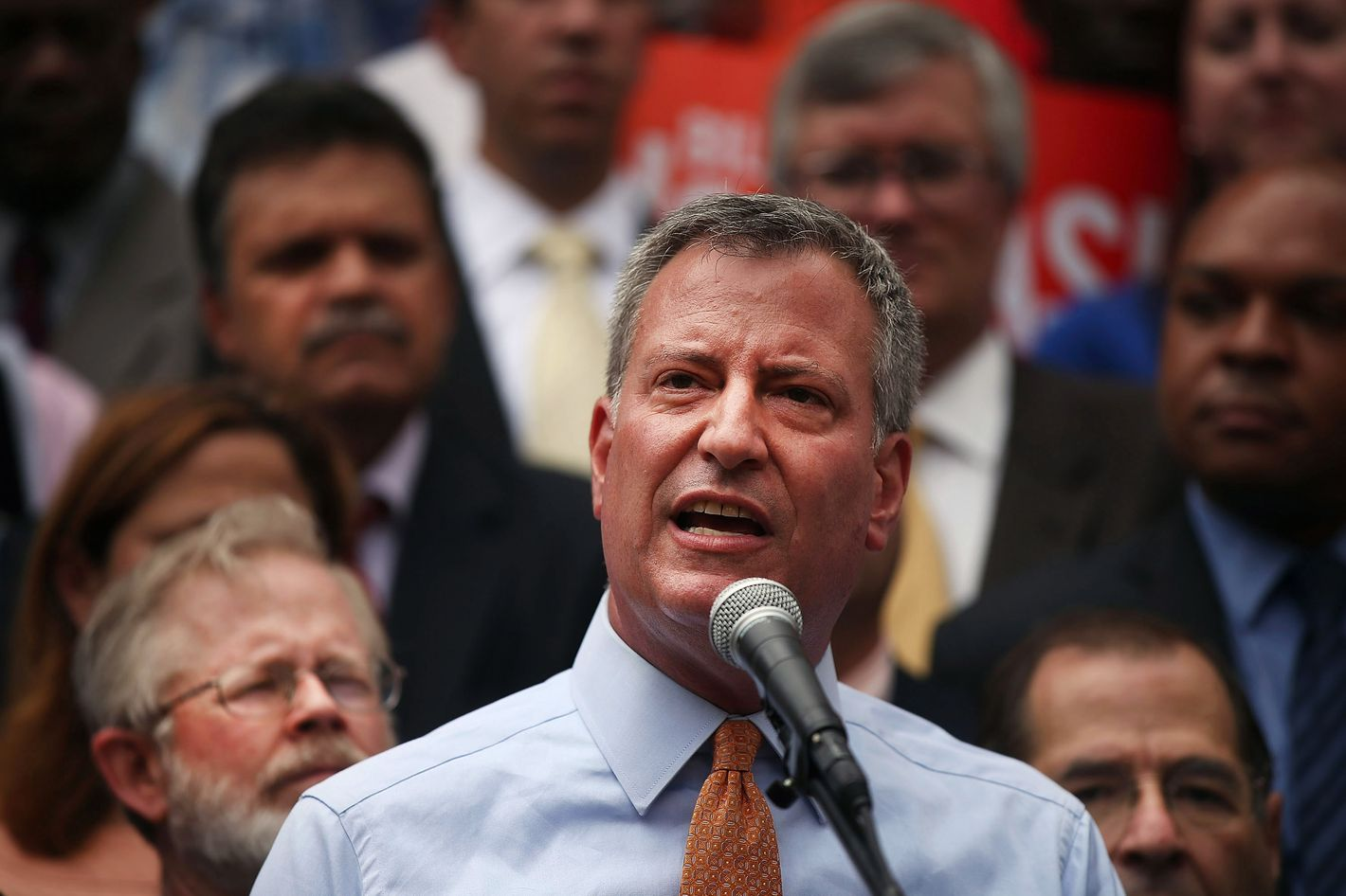 """Democratic mayoral front-runner Bill de Blasio attends a """"rally for progressive change"""" where he received endorsements from more than 25 progressive leaders and organizations on September 12, 2013 in the Brooklyn borough of New York City. Bill Thompson, who came in second in the Democratic primary, has so far refused to concede to de Blasio until it is confirmed by the election board that de Blasio got 40 percent of the vote."""