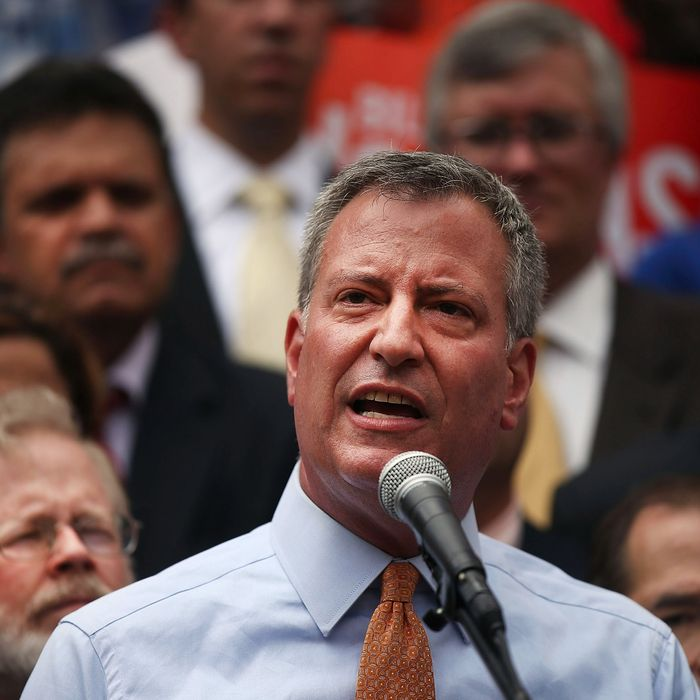 Democratic mayoral front-runner Bill de Blasio attends a