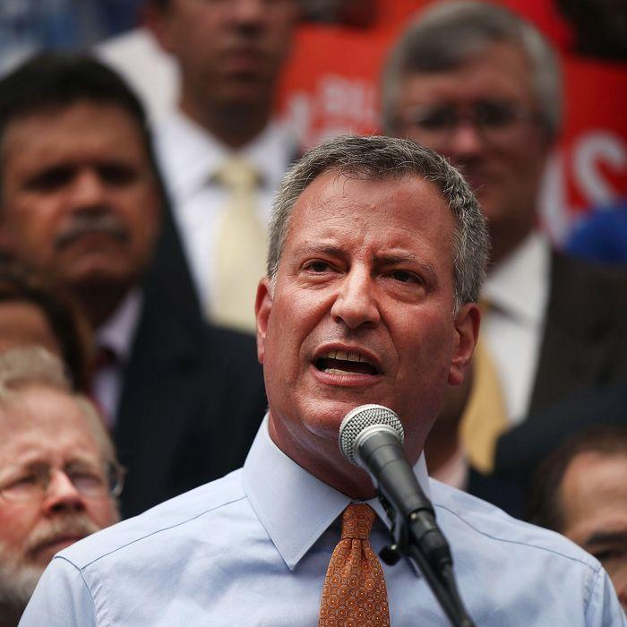 Democratic mayoral front-runner Bill de Blasio attends a