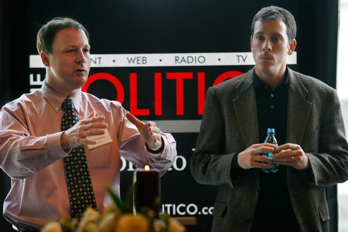 John Harris, left, editor in chief of The Politico, and Jim VandeHei, executive editor of The Politico, speak to advertisers in Arlington, Va., Friday, Jan. 19, 2007. The Politico is a new political newspaper in Washington and also has an online edition at politico.com.