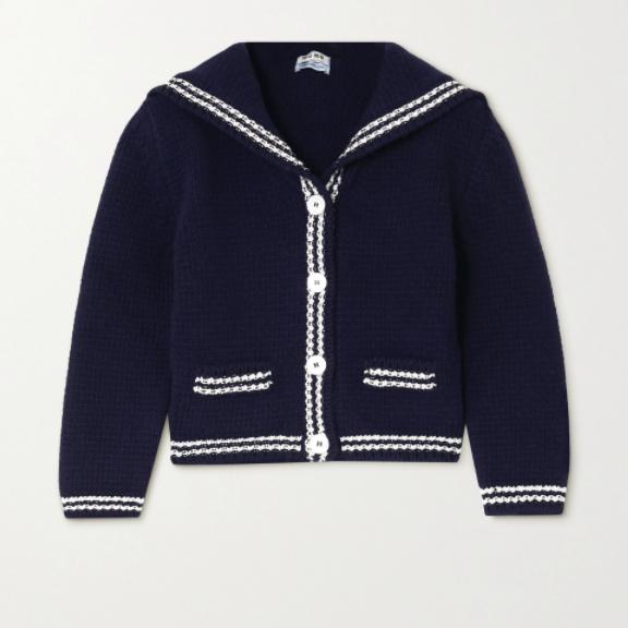 Cropped Intarsia Wool Cardigan