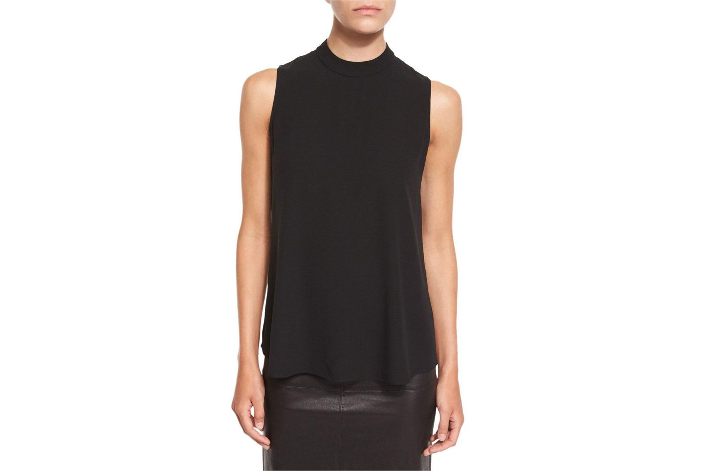 Eileen Fisher High-Neck Silk Georgette Tank