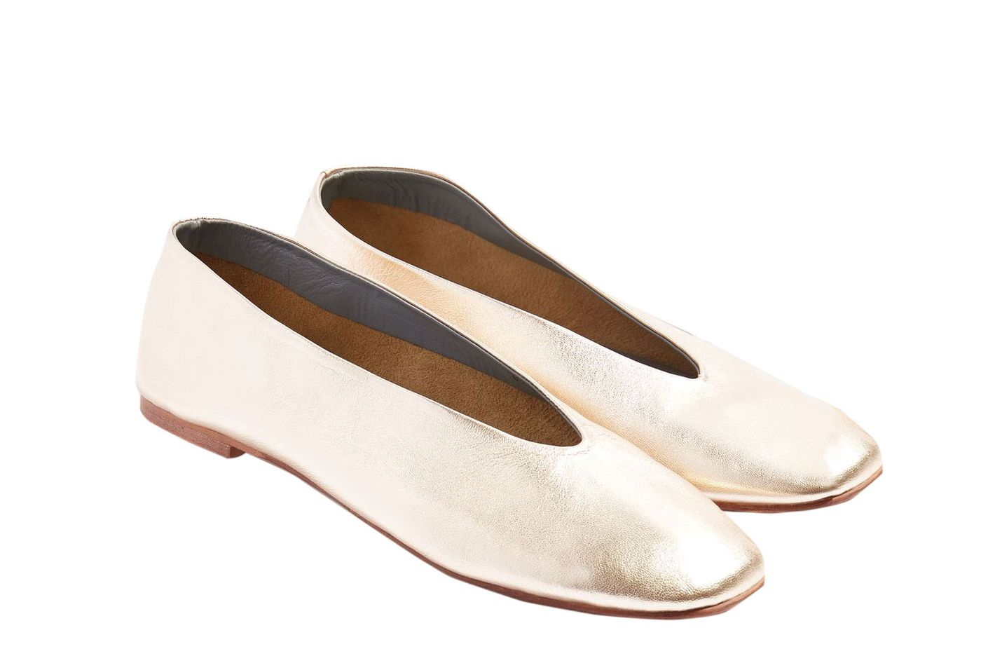 Topshop Kick Soft Leather Ballet Flats
