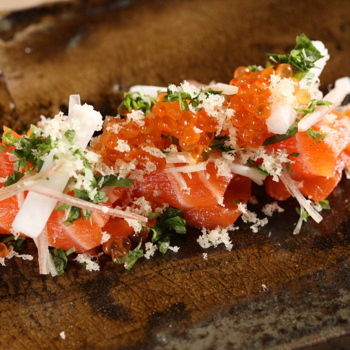 Tasmanian sea trout with trout roe, nagaimo, and tempura flakes.