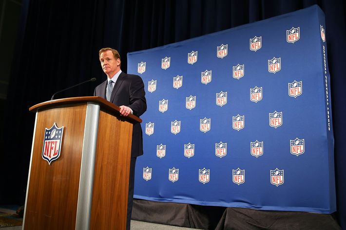 NEW YORK, NY - SEPTEMBER 19: NFL Commissioner Roger Goodell talks during a press conference at the Hilton Hotel on September 19, 2014 in New York City.Goodell spoke about the NFL's failure to address domestic violence, sexual assault and drug abuse in the league. (Photo by Elsa/Getty Images)