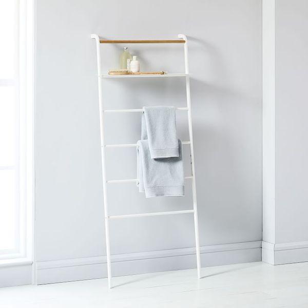Yamazaki Leaning Clothes + Towel Rack with Shelf