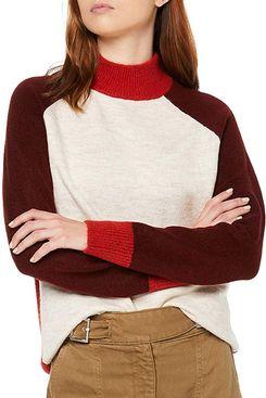 find. Women's Colorblock Contrast Highneck Oversized Sweater
