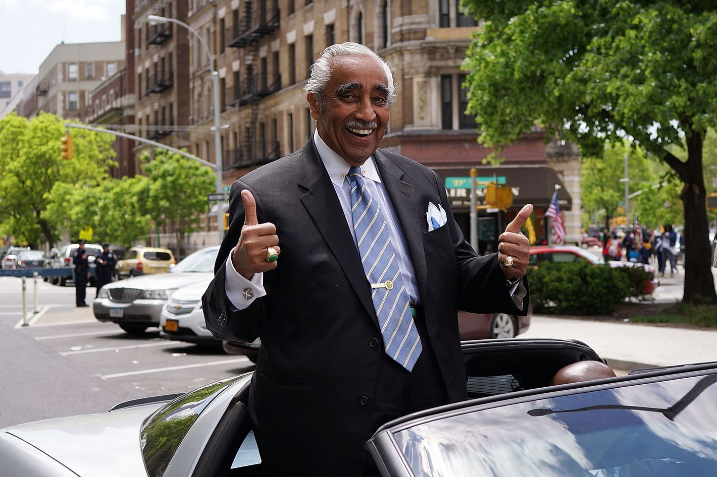 """NEW YORK, NY - MAY 18: Democratic congressman Charlie Rangel leads a march of soldiers, veterans and various other military aligned groups in the 369th Infantry Regiment Parade in Harlem on May 18, 2014 in New York City. The parade, which takes place on the historic Adam Clayton Powell Jr. Boulevard, looks to celebrate the contribution African Americans and Puerto Ricans have made to military. The 369th was home to the """"Harlem Hellfighters"""", a unit made up of both African Americans and Puerto Ricans, which fought in both World War I and World War II.  (Photo by Spencer Platt/Getty Images)"""
