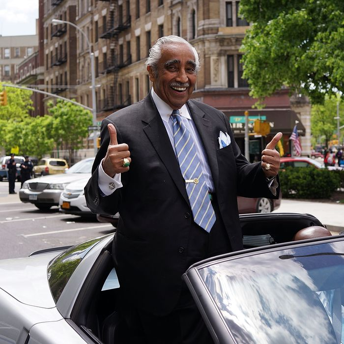 NEW YORK, NY - MAY 18: Democratic congressman Charlie Rangel leads a march of soldiers, veterans and various other military aligned groups in the 369th Infantry Regiment Parade in Harlem on May 18, 2014 in New York City. The parade, which takes place on the historic Adam Clayton Powell Jr. Boulevard, looks to celebrate the contribution African Americans and Puerto Ricans have made to military. The 369th was home to the