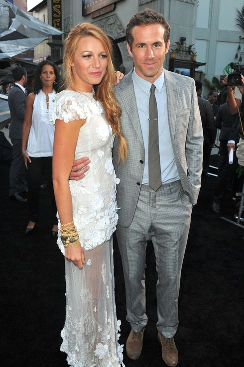 "Actors Blake Lively (L) and Ryan Reynolds arrive at the premiere of Warner Bros. Pictures' ""Green Lantern"" held at Grauman's Chinese Theatre on June 15, 2011 in Hollywood, California."