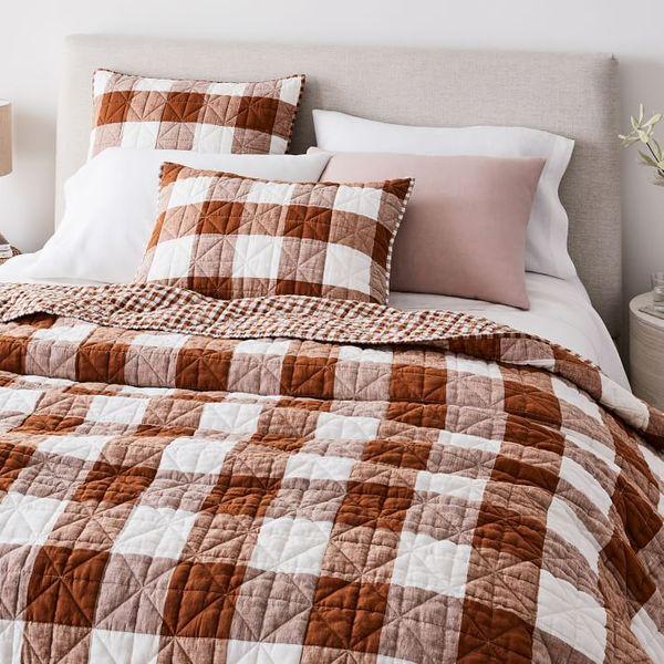 Heather Taylor Home Reversible Gingham European Flax Linen Quilt, Queen