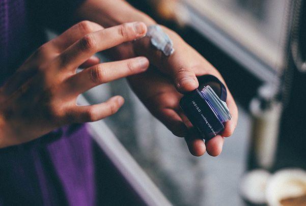 Natalie testing Sephora Naturals on her hand
