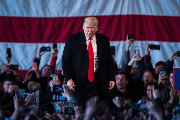 Republican presidential candidate Donald Trump in Rochester, NY.