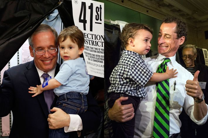 Left: Manhattan Borough President Scott Stringer emerges from a voting booth with his 20-month old son Max after casting his ballot during the primary election, Tuesday, Sept. 10, 2013, in New York. Stringer is running against Ex-Gov. Eliot Spitzer for city comptroller. Right: New York City mayoral hopeful Anthony Weiner exits the voting booth with his son, Jordan Weiner, after voting at his polling station on September 10, 2013 in New York City. Weiner ran into a minor issue while voting this morning: a required signature proving he was Anthony Weiner was not on file at the local polling station. The problem was soon solved by the Board of Elections.