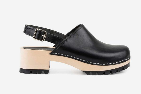 Swedish Hasbeens Jill Clogs, Black