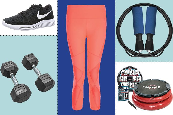 collage of sweaty betty power crop mesh leggings, spri step360 pro trainer, nike lunarepic flyknit sneakers, benran jump rope, and rogue rubber hex dumbbells - strategist best fitness gear