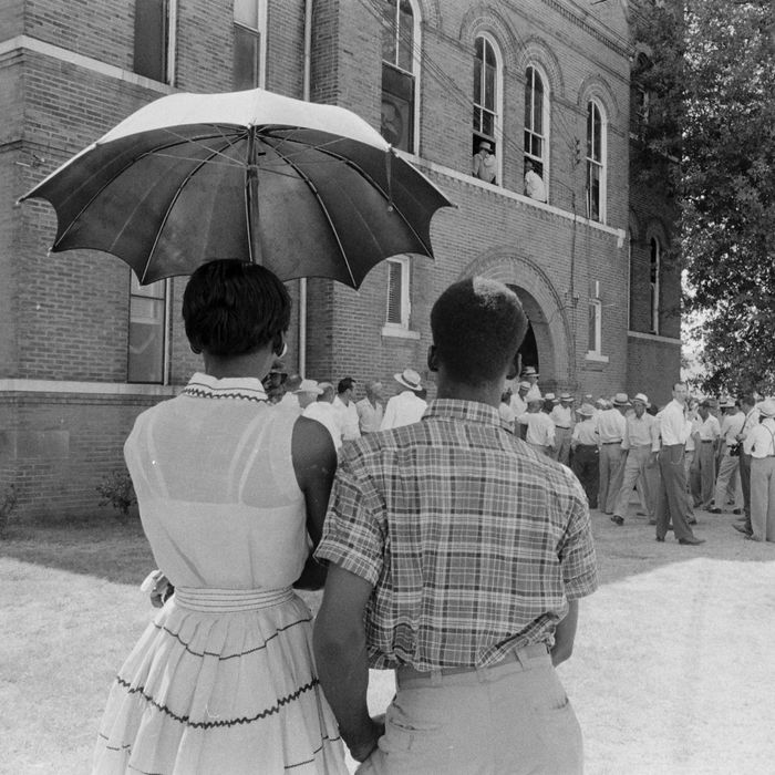 Mississippi Murder Trial of Emmett Till. A scene in Sumner, Miss., during the trial of Roy Bryant and J.W. Milam for the kidnapping and murder of Emmett Till.
