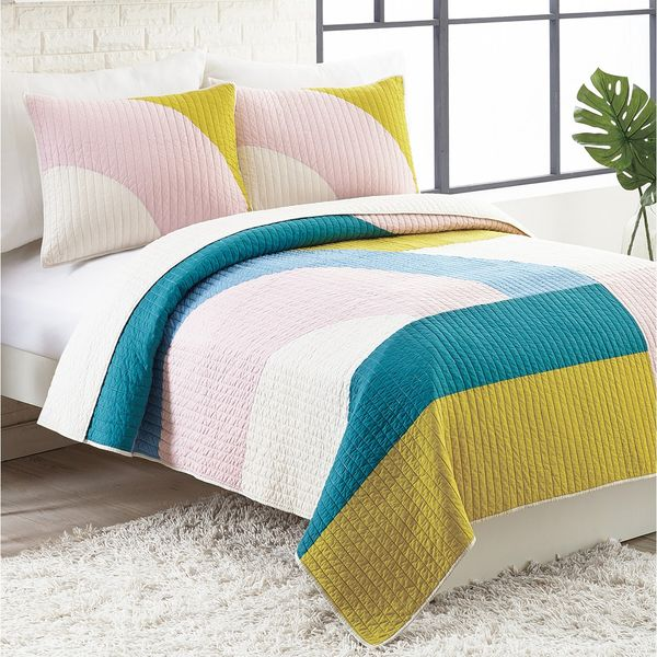 Ampersand Modshapes Cotton Reversible 3-Pc. Full/Queen Quilt Set