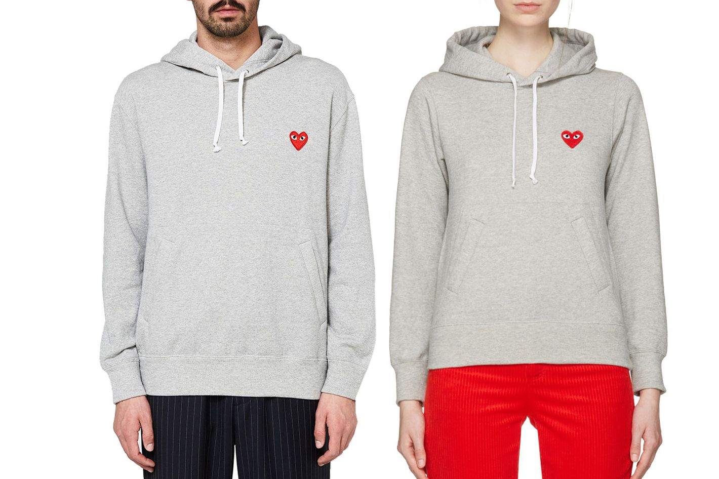 Comme des Garçons Play Hooded Sweatshirt in Grey, Men's