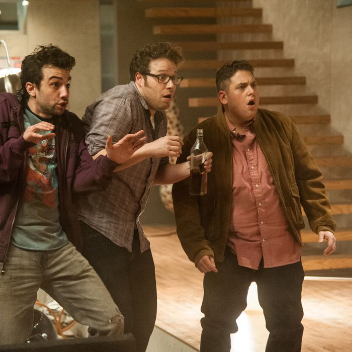 L-r, Jay Baruchel, Seth Rogen and Jonah Hill in Columbia Pictures'