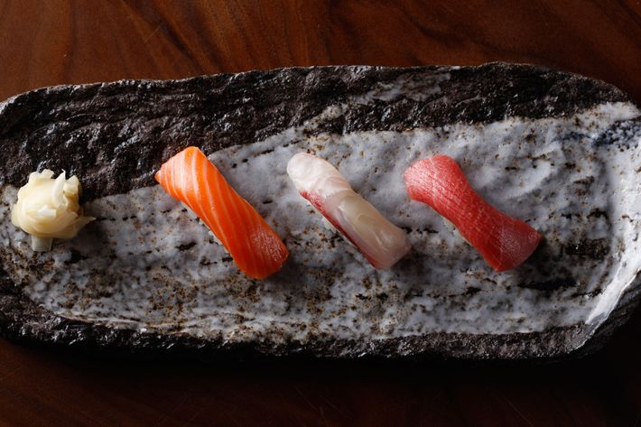 King salmon, kampachi, and chutoro, all together.
