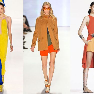 From left: new spring looks from Ruffian, Lacoste, and Lyn Devon.