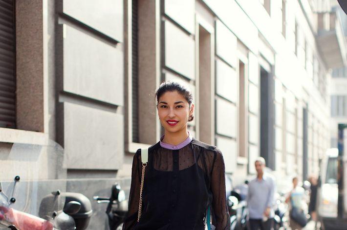 Caroline Issa, shot in Milan by Stockholm Streetstyle.