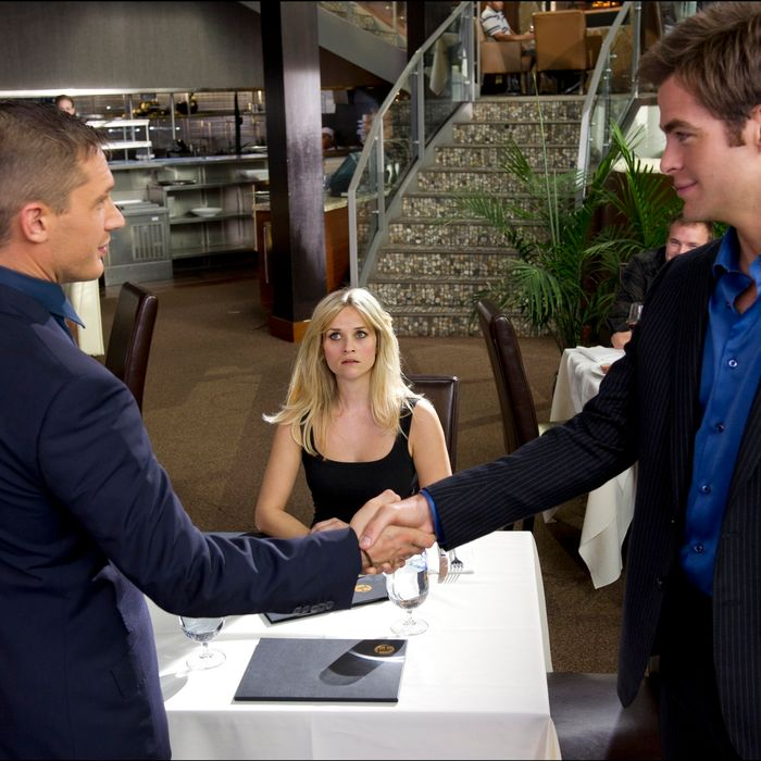 Still of Tom Hardy, Reese Witherspoon and Chris Pine in
