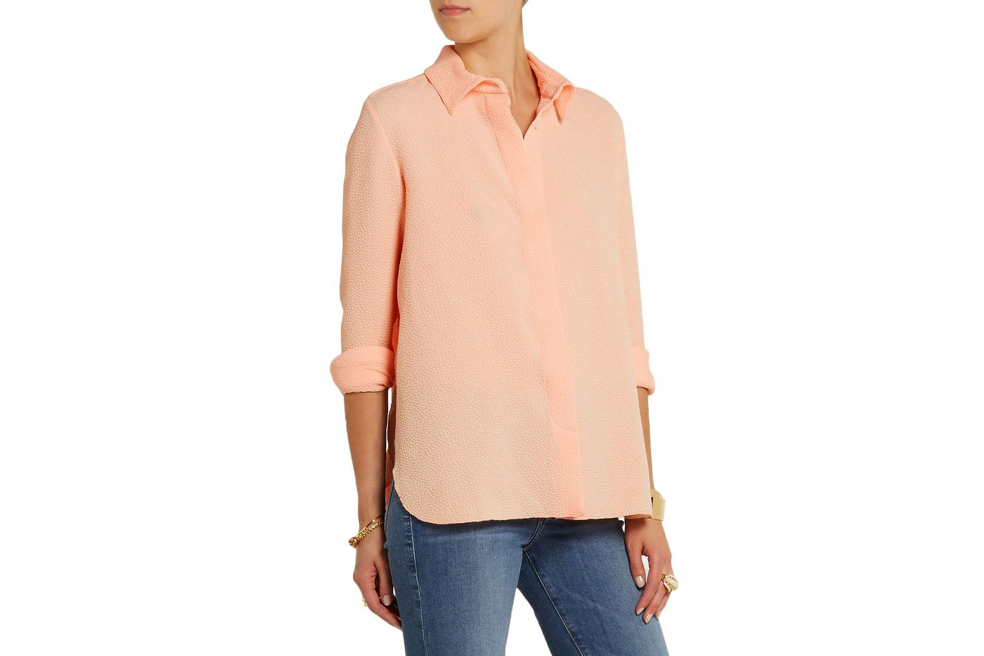 See by Chloe pleat-back cloqué shirt