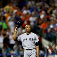 NEW YORK, NY - JULY 16:  American League All-Star Mariano Rivera #42 of the New York Yankees acknowledges the crowd in the eigth inning during the 84th MLB All-Star Game on July 16, 2013 at Citi Field in the Flushing neighborhood of the Queens borough of New York City.  (Photo by Elsa/Getty Images)