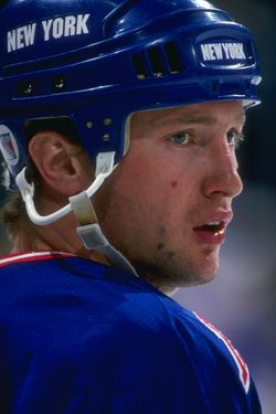 31 Jan 1996:  Defenseman Alexander Karpovtsev of the New York Rangers looks on during a game against the Dallas Stars at Reunion Arena in Dallas, Texas.  The game was a tie, 1-1. Mandatory Credit: Joe Patronite  /Allsport