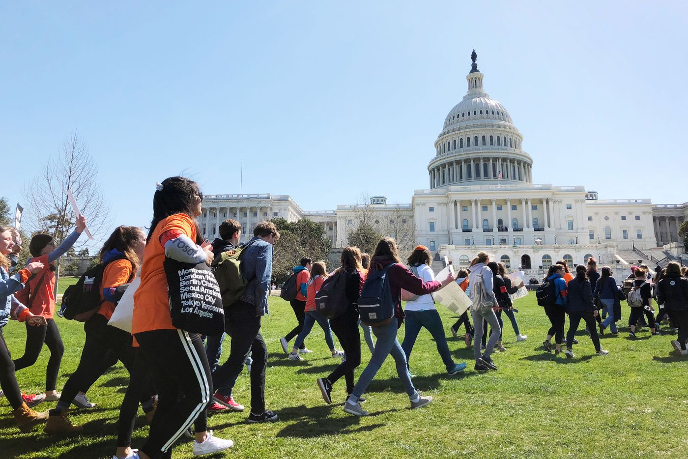 Students at the Capitol during the National Walkout in Washington, D.C. on April 20, 2018. Photo: Michael Robinson Chavez/The Washington Post/Getty Images