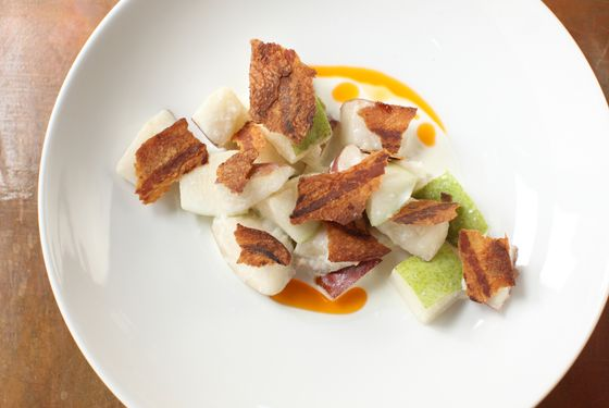 Bosc pear with guanciale and buttermilk.