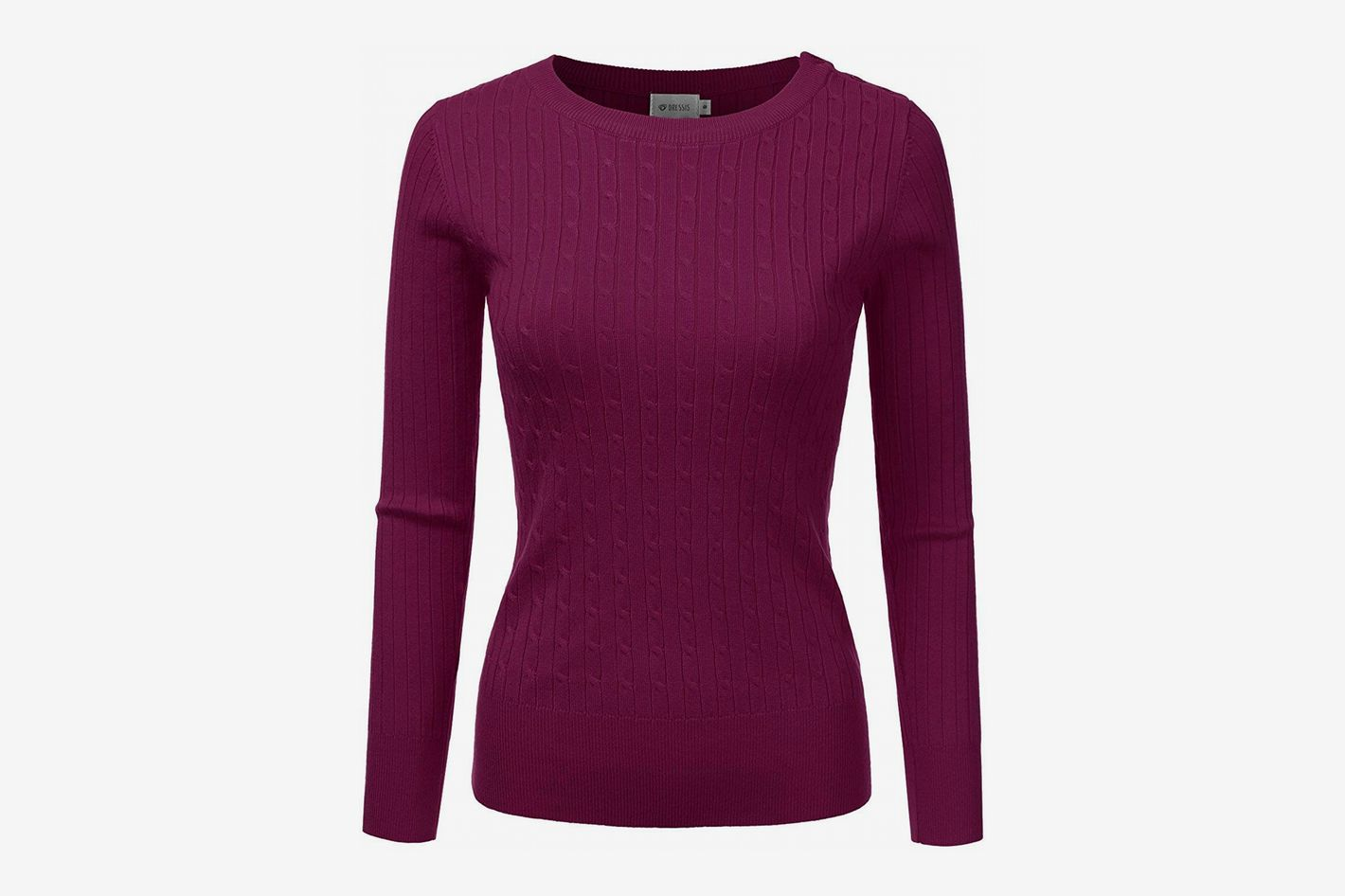 731fca33c8a DRESSIS Women s Long Sleeve Round Neck Cable Knit Sweater