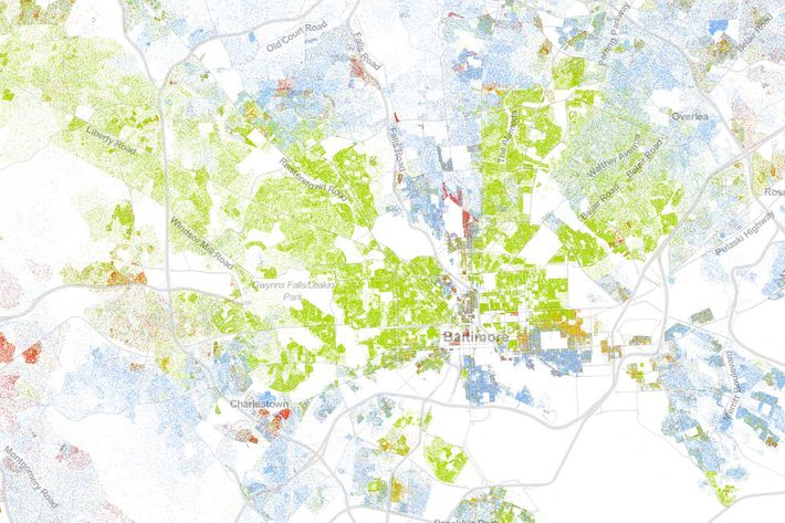 Green Dots Represent Black People Blue Represent Whites Yellow Represent Hispanics Red Represent Asian And Brown Is Everyone Else