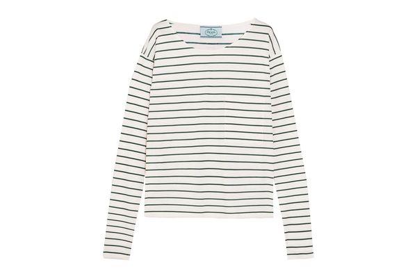 Prada Striped Cotton Jersey Top