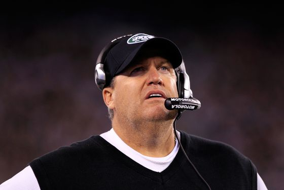 EAST RUTHERFORD, NJ - NOVEMBER 13:  head coach Rex Ryan of the New York Jets looks on during their game against the New England Patriots at MetLife Stadium on November 13, 2011 in East Rutherford, New Jersey.  (Photo by Chris Trotman/Getty Images)