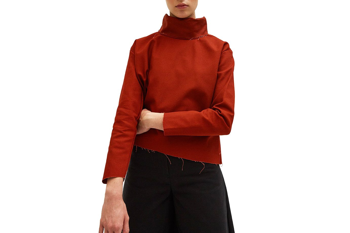 Ashley Rowe Fitted Turtleneck in Red