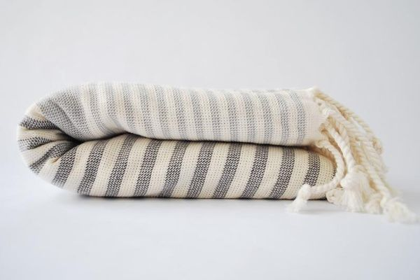 MissCottonStore Striped Fringed Beach Blanket
