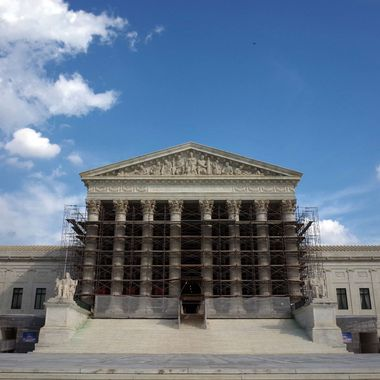 An October 5, 2013 photo shows the US Supreme Court in Washington, DC.  The US Supreme Court looked set October 8, 2013 to let individuals give as much money as they want in elections, which President Barack Obama has said could push politics even further into the hands of the rich.  Three years after its historic Citizens United decision upended America's campaign finance system, the highest court in the land is hearing a case that, if approved, will allow more cash to flood into presidential and other election races.  US laws currently impose restrictions on how much an individual can contribute to any single candidate, as well as the total amount of donations in a given election cycle.