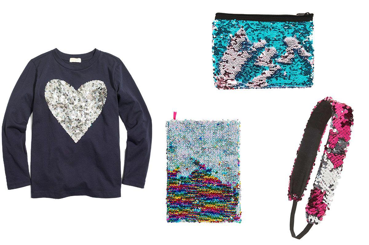Girls' Long-Sleeve Floral Sequin Heart Keepsake T-shirt
