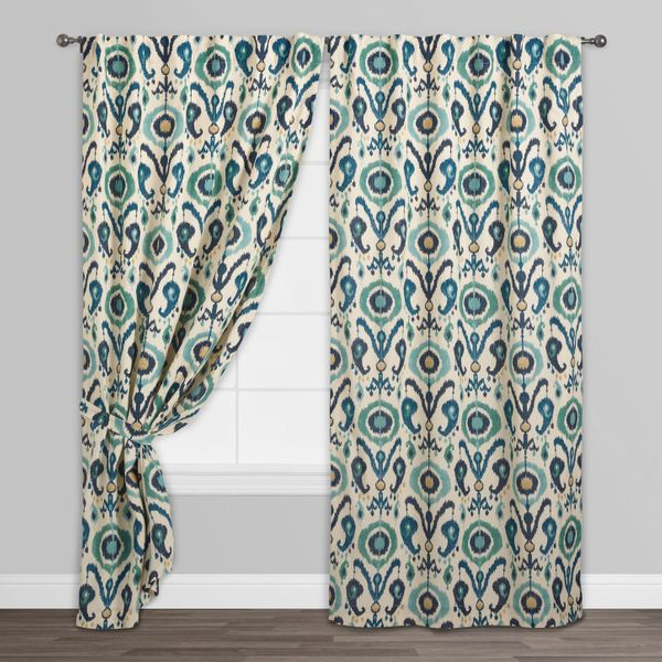 Indigo Ikat Concealed Tab Top Curtains (Set of Two)