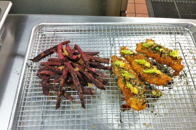 Wasabi-ginger fingers with sweet potato french fries.